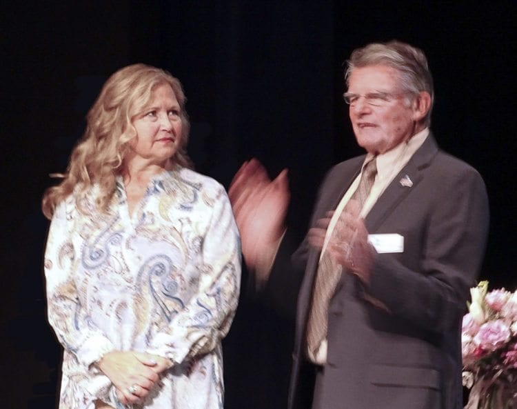 Ridgefield Mayor Ron Onslow introduces his wife Sandy Schill at Thursday's State of the City address and thanks her for her public service to the community.