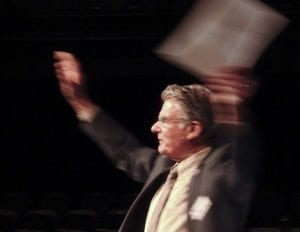Ridgefield Mayor Ron Onslow waves his arms in response to applause from the audience. Photo courtesy of Rick Browne
