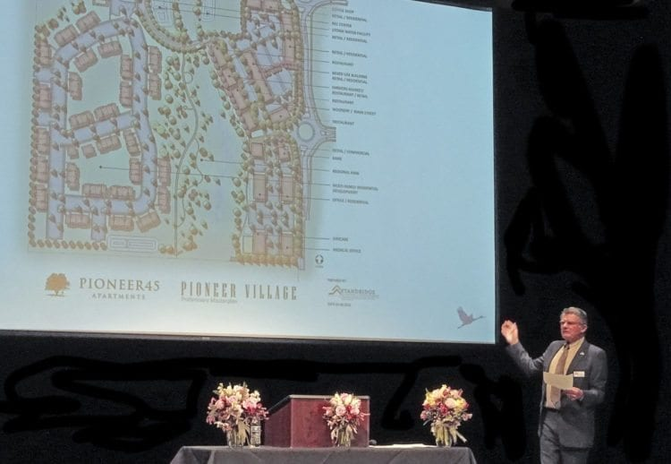 Ridgefield Mayor Ron Onslow talks about the Pioneer Village development, where Ridgefield's new Rosauers grocery store will be built. Photo courtesy of Rick Browne