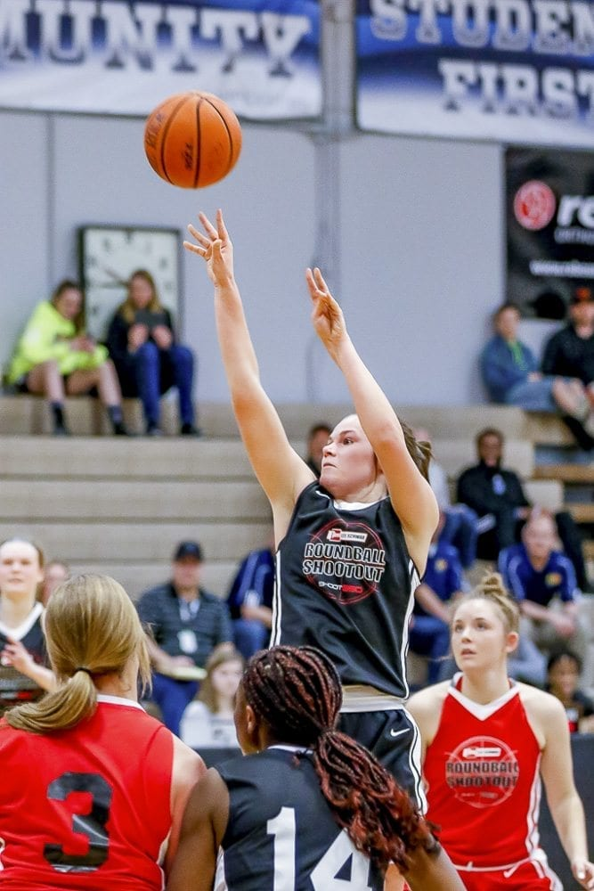 Taylor Mills of La Center was named the Star of Stars for the girls game at the Les Schwab Tires Roundball Shootout. She dedicated her MVP award to her grandfather, Jerry Mills. The family attended his Celebration of Life on Sunday afternoon, and then Mills shined Sunday night. Photo by Mike Schultz