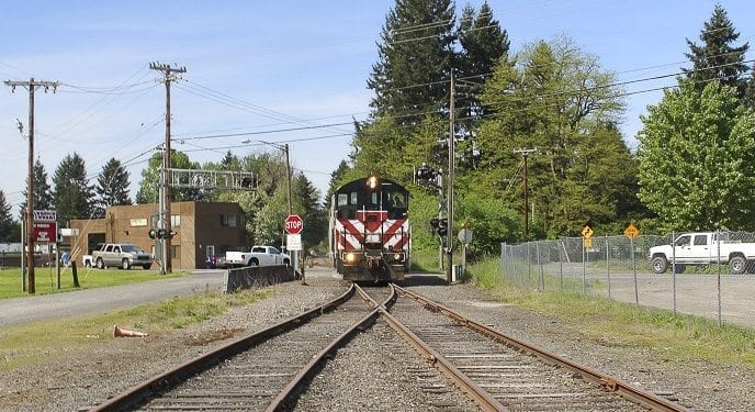 The Chelatchie Prairie Railroad is a 33-mile short line that stretches NE across much of Clark County. Photo courtesy of Clark County Public Works