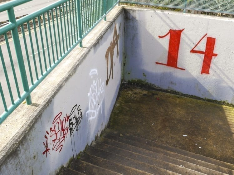 Tagging seen on a pedestrian overpass along Padden Parkway near 137th Avenue in Vancouver. Photo by Chris Brown
