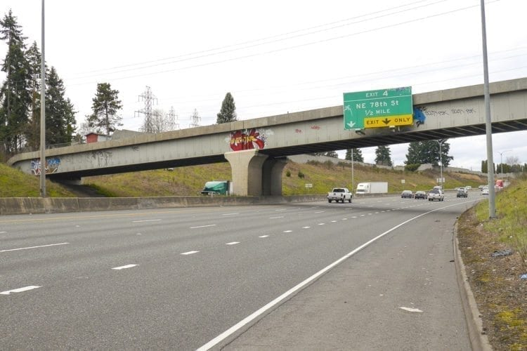 Taggers hit a bridge along I-5 Northbound near Hazel Dell. Photo by Chris Brown