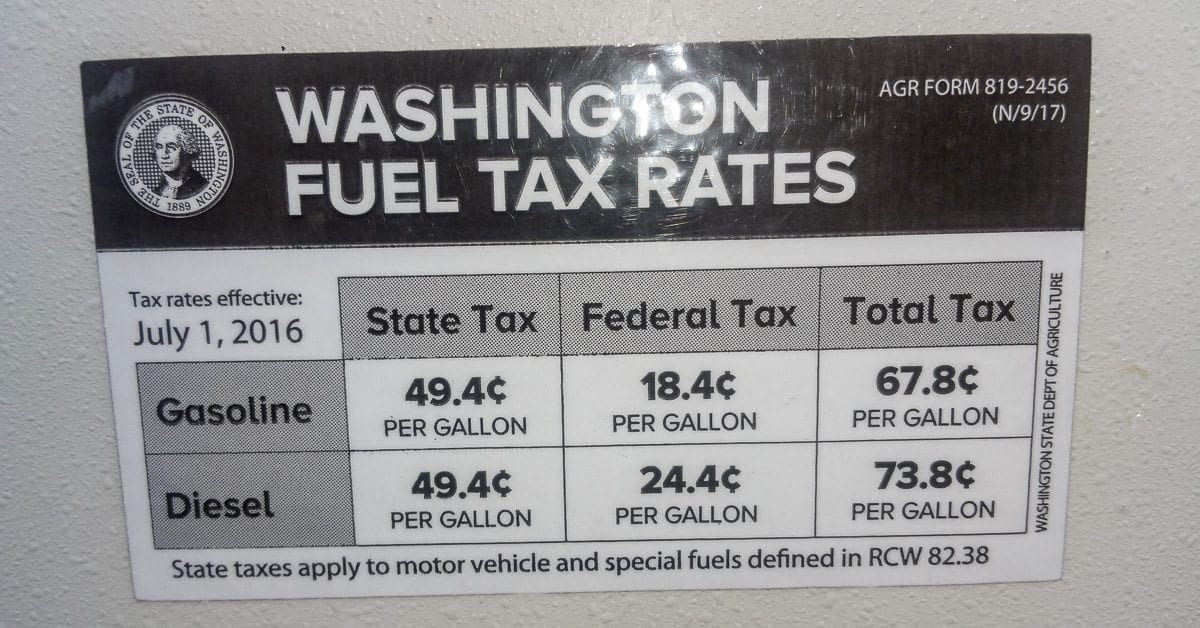 This recent photo from a pump at a gas station in Clark County shows the gas tax rate that Southwest Washington residents currently pay. Photo by Ken Vance