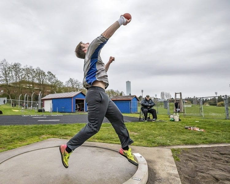 Earlier this season, Trey Knight of Ridgefield set a personal best for outdoor shot put at 63-feet, 3-inches. In the winter, he competed in New York at the prestigious New Balance National Indoor. Photo by Mike Schultz