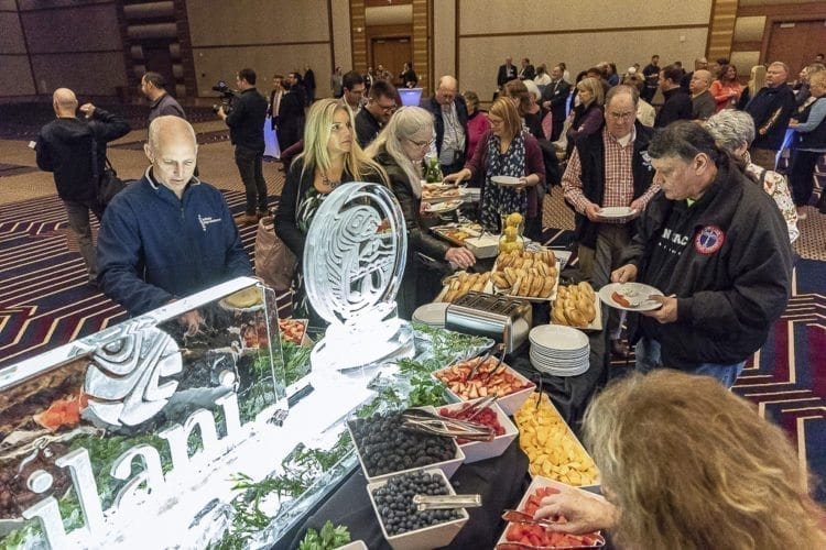 Guests enjoy a breakfast buffet at the new Meeting and Entertainment Center Thursday at ilani Casino Resort. Photo by Mike Schultz