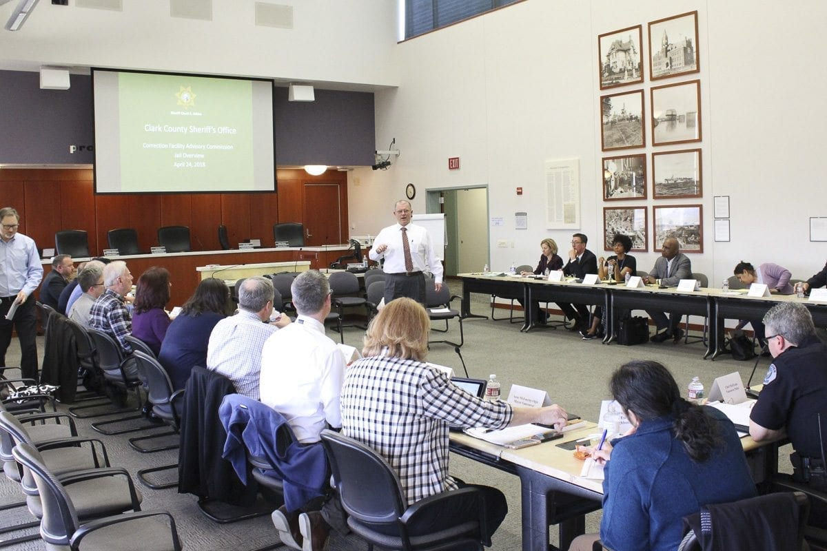 Chief Corrections Deputy Ric Bishop addresses the first gathering of the Clark County Corrections Facility Advisory Commission Tuesday evening in Vancouver. Photo by Eric Schwartz