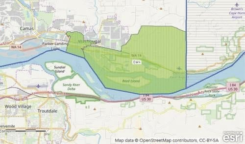 These maps show the location of the Opportunity Zone tracts approved as part of a federal program in Washougal. Map courtesy of Camas Washougal Economic Development Association