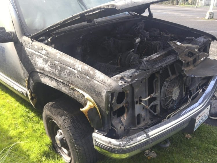 The charred remnants of the Suburban are seen in this photo. Photo courtesy of Debbie Crawford