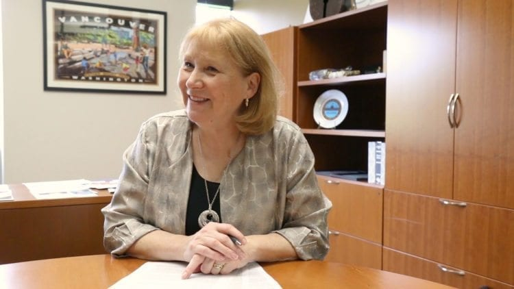Vancouver Mayor Anne McEnerny-Ogle talks with Reporter Chris Brown after her first 100 days in office. Video by Mike Schultz and Chris Brown