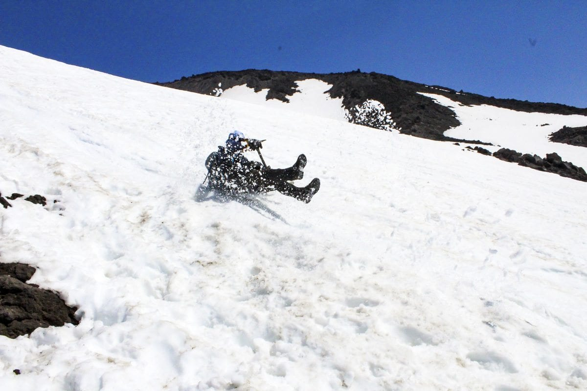 A man glissades down the slopes of Mount St. Helens Tuesday. Photo by Eric Schwartz