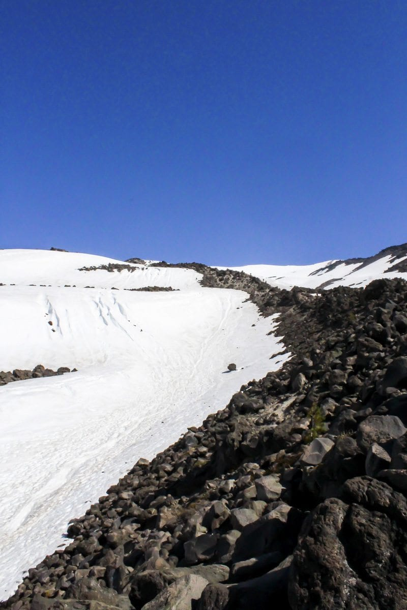 A rocky ridge points the way toward the summit of Mount St. Helens. Photo by Eric Schwartz