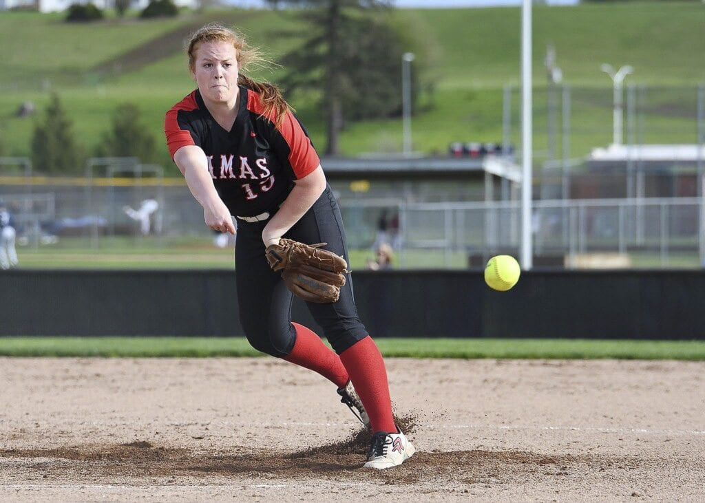 Kennedy Ferguson was named the Class 4A Greater St. Helens League's Pitcher of the Year after leading Camas to a league title. Photo by Kris Cavin
