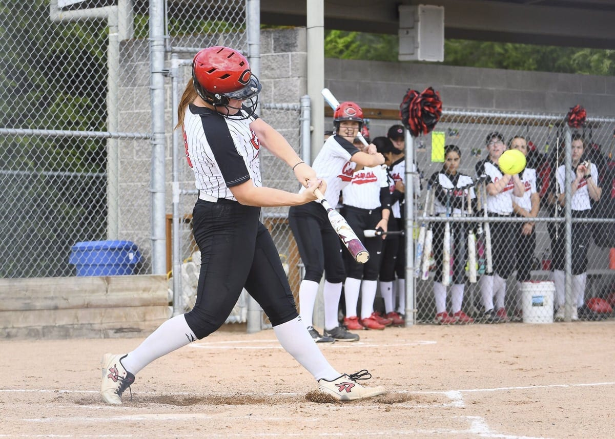 Kennedy Ferguson of Camas is known more for her pitching than hitting, but she is second on the team in RBIs and is one one home run off the school's season record. Photo by Kris Cavin