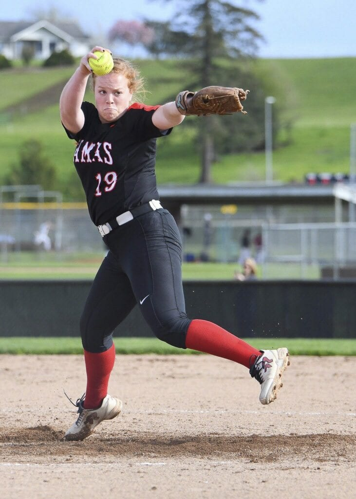 Kennedy Ferguson threw a five-inning perfect game earlier this month, striking out all 15 batters she faced. In one inning, she struck out the three batters on nine pitches. Photo by Kris Cavin