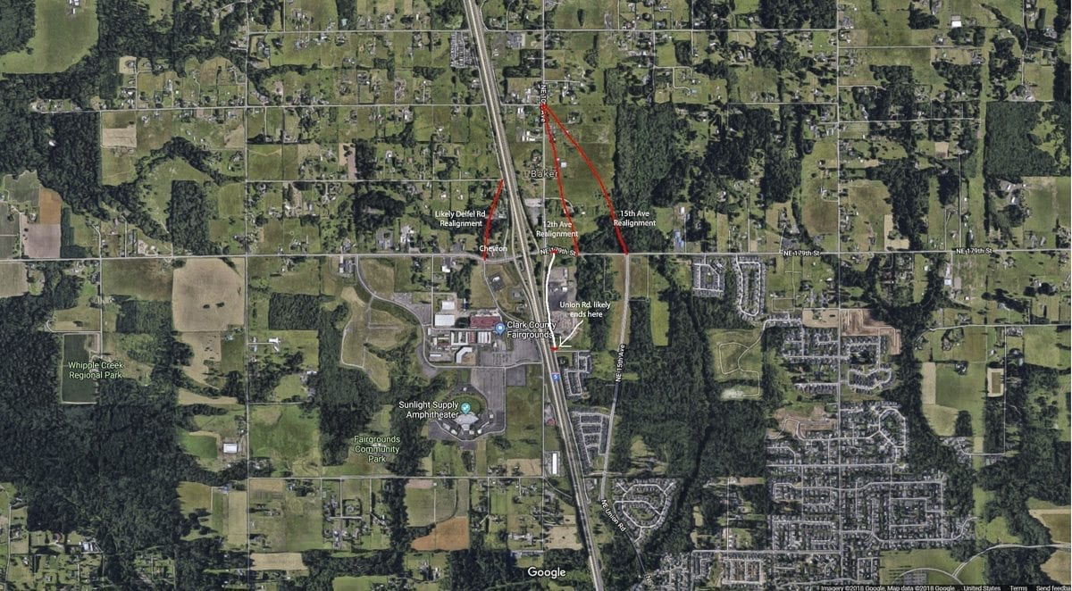 This map shows some of the proposed realignments of County roads around the 179th Street Interchange. Image Credit: Google Maps
