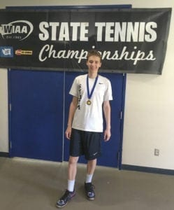 Andrew Kabacy of Skyview defended his Class 4A state tennis singles title Saturday. He helped the Storm win the team title for the second year in a row, as well. Photo courtesy of Skyview Athletics.