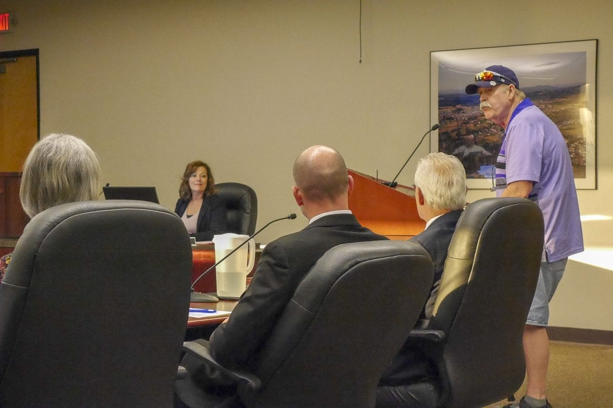 Battle Ground resident John Young addresses city council about fireworks at a hearing this week. Photo by Chris Brown