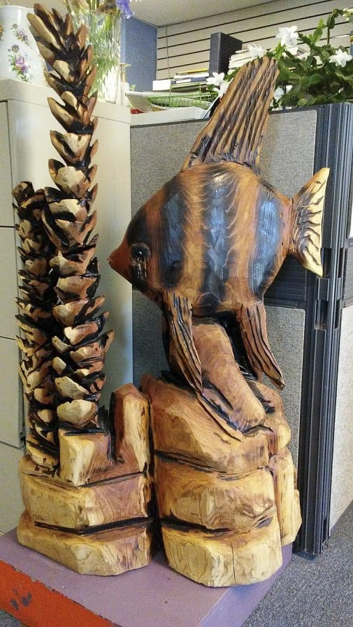 This deep sea carving by area artist Carl Fender is being raffled off by the North County Community Food Bank to raise much-needed funds. Photo courtesy of North County Community Food Bank