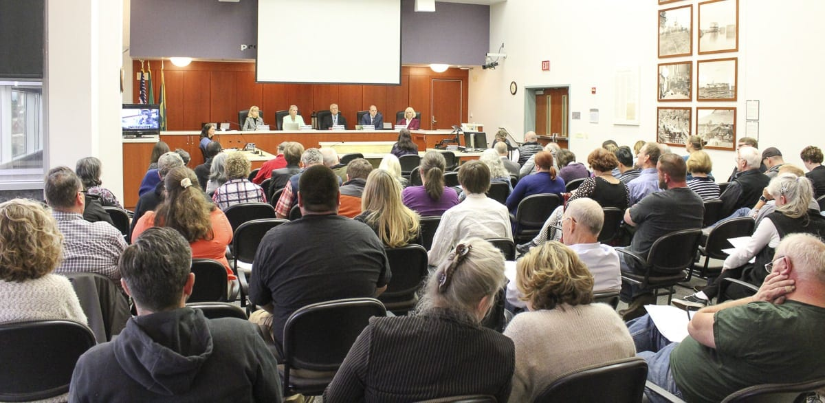 The Clark County Council listens to public comment during a hearing last month. The council has been without a county manager since last year. Photo by Eric Schwartz
