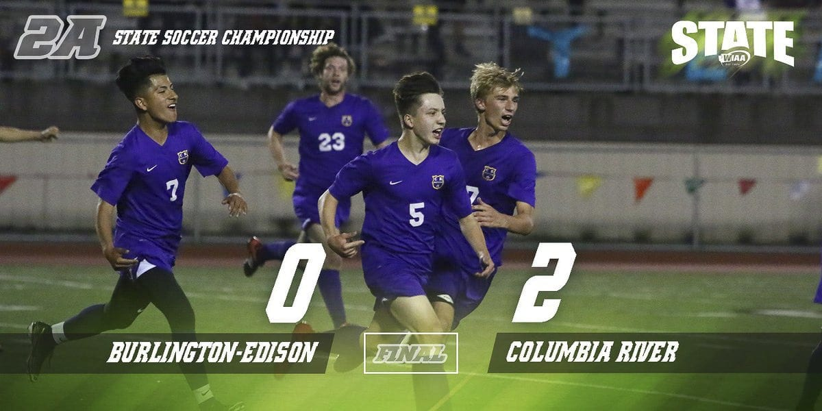 Columbia River completed a 23-0 season with a win over Burlington-Edison in the Class 2A state boys soccer championship match Saturday. Photo courtesy WIAA