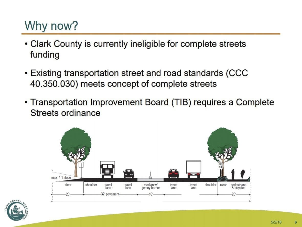 This slide outlines the reasons Clark County should pass a Complete Streets ordinance, along with a cutout view of Padden Parkway as an example. Photo courtesy Clark County Planning Commission