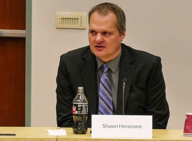 Shawn Henessee, seen here during a Wednesday forum, has been announced as the new county manager for Clark County about a year after the firing of Mark McCauley. Photo by Chris Brown