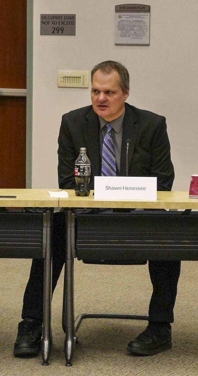Shawn Henessee, city administrator for Pleasant Hill, MO, answers questions during a forum for county manager finalists. Photo by Chris Brown