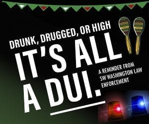 Area law enforcement agencies will be performing increased DUI patrols May 5 and 6. Image provided by the Vancouver Police Department