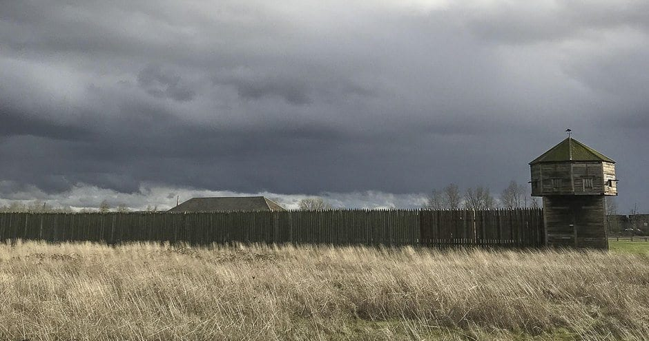 """Stormy skies are seen over Fort Vancouver. Photo by """"Fort Vancouver"""" producer Beth Harrington"""
