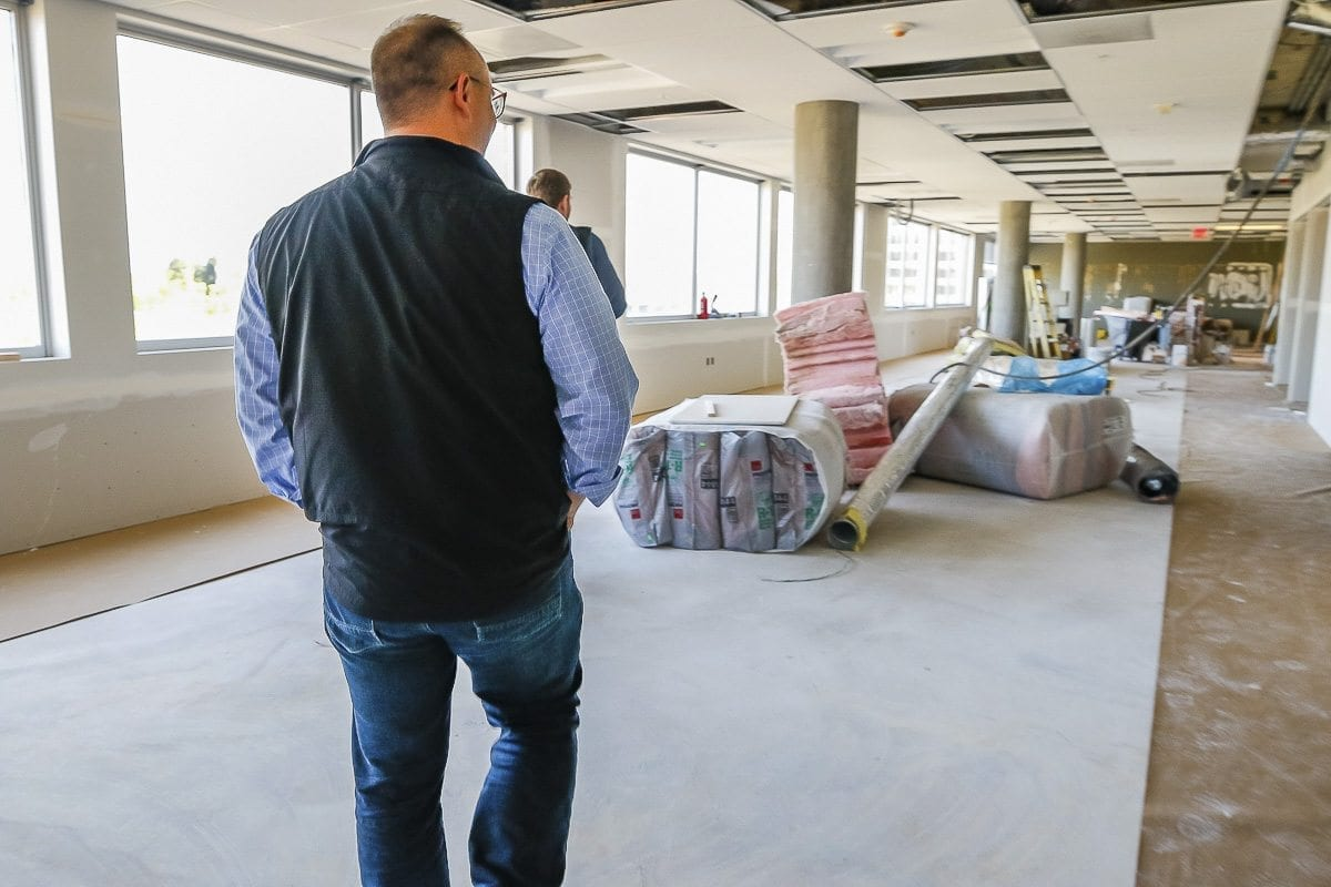 WellHaven Pet Health CEO John Bork walks through the fourth-floor home of the WellHaven Campus, which is currently under construction in downtown Vancouver. Photo by Mike Schultz