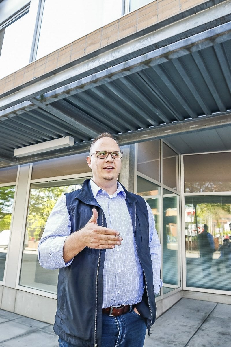 WellHaven Pet Health CEO John Bork stands outside the future home of a new animal hospital on Washington Street in downtown Vancouver. Photo by Mike Schultz