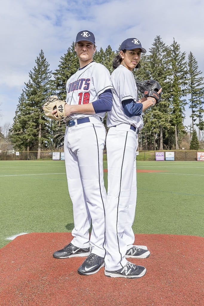 King's Way Christian will attempt to repeat as Class 1A state baseball champions this weekend. Pitchers Damon Casetta-Stubbs (left) and Sam Lauderdale (right) will lead King's Way in the semifinals. Photo by Mike Schultz