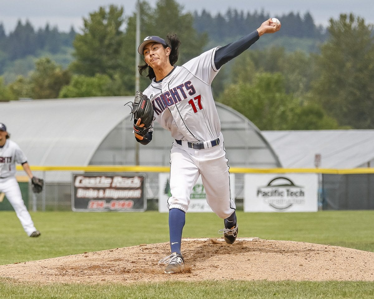Sam Lauderdale struck out 13 in his complete game, helping King's Way Christian beat La Center 4-0 in the Class 1A state baseball quarterfinals. King's Way Christian is headed back to the state semifinals. Photo by Mike Schultz