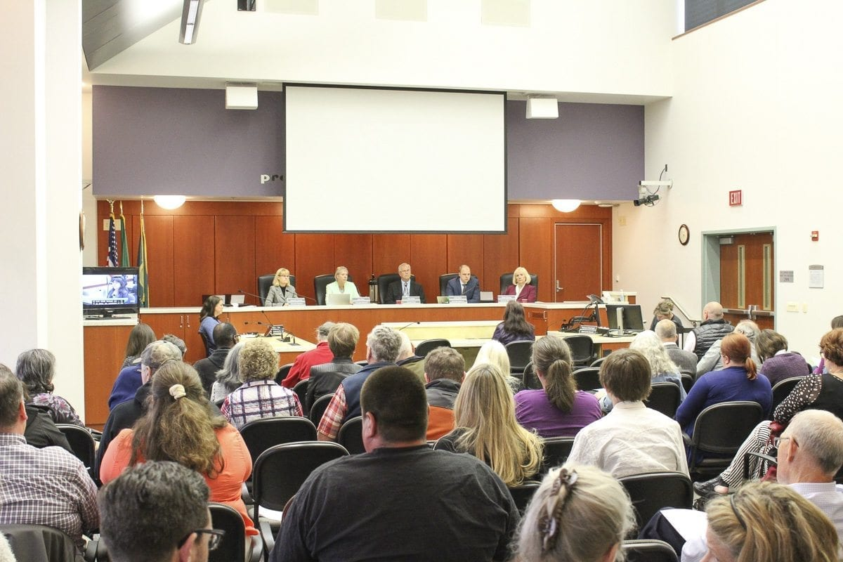 Dozens of residents packed the Clark County Council hearing room Tuesday to voice frustration about a perceived lack of action by the council to confront issues at the Livingston Quarry. Photo by Eric Schwartz