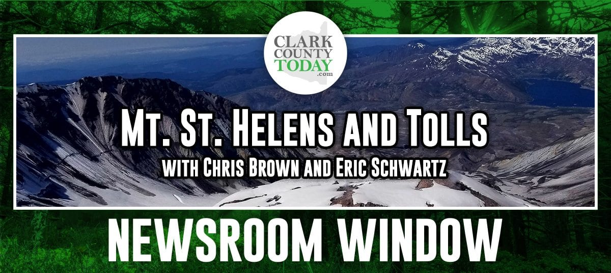 Welcome to the Newsroom Window podcast, a look behind the scenes at ClarkCountyToday.com with reporters Chris Brown and Eric Schwartz. This week, we talk about the anniversary of the 1980 eruption of Mount St. Helens, why Eric recently climbed the mountain in a hilariously stupid way and how recent changes affect the discussion on the possibility of something many would also consider to be a disaster — tolling over the Columbia River.