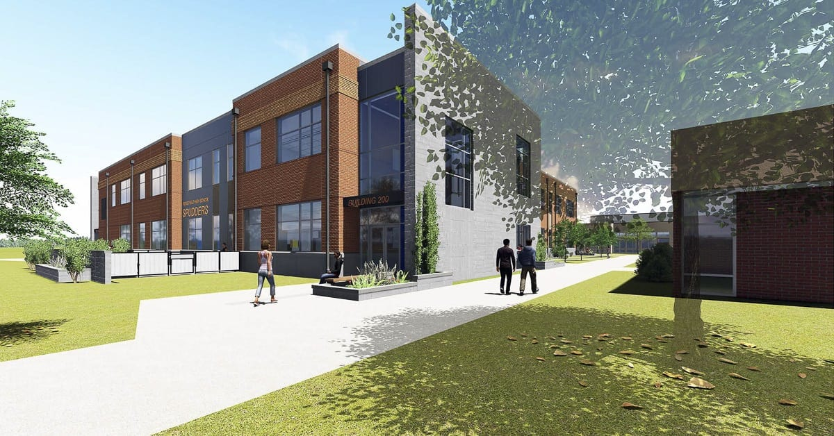 This is an architectural rendering of the Ridgefield High School expansion scheduled for completion in Fall 2019. Image provided by the Ridgefield School District