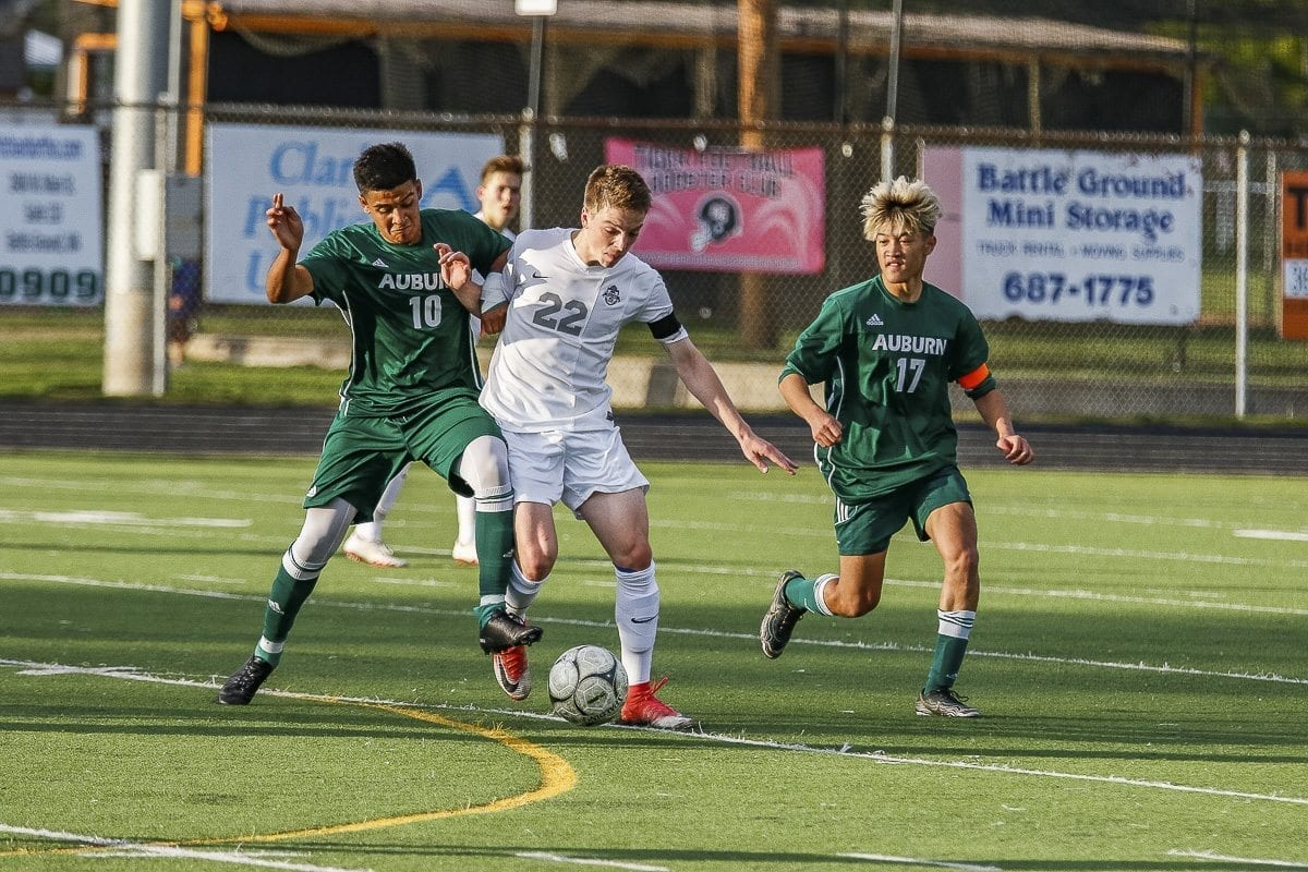 Skyview's Michael Kimbrell (22) is shown here in Thursday night's playoff soccer action. Photo by Mike Schultz