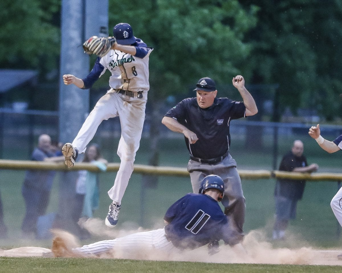 Skyview's Brent Monahan is safe on this play for the Storm. Skyview will have to dig deep Wednesday to get a win in an elimination game in the Class 4A bi-district tournament. Photo by Mike Schultz
