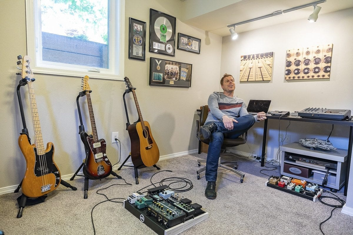 Smalltown Poets guitarist Kevin Breuner at his home studio in Camas. Photo by Mike Schultz