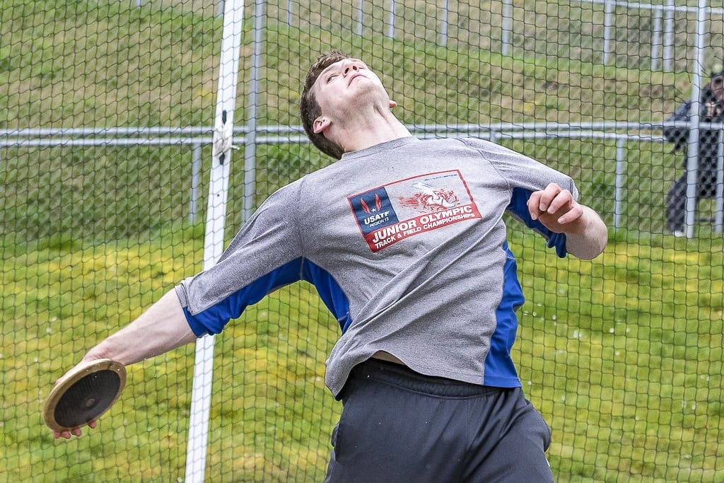 Trey Knight of Ridgefield, shown here earlier this season, won the Class 2A state discus title Saturday. He also won the shot put on Friday. Photo by Mike Schultz