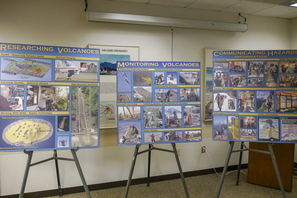 May is Volcano Preparedness Month in Washington State. This display at the USGS Cascades Volcano Observatory shares advice on getting ready. Photo by Chris Brown