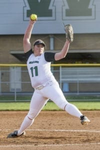 Olivia Grey, shown here earlier in the season, struck out 20 batters in the championship game and 68 in the four game at state for the Woodland Beavers. Photo by Mike Schultz