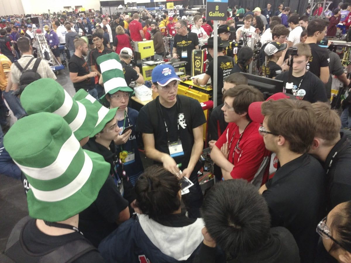 At the FIRST Robotics World Championship, the Cloverbots advanced to the final round after winning 2-1 in the quarterfinals and 2-0 in the semifinals. Photo courtesy of Cloverbots robotics team