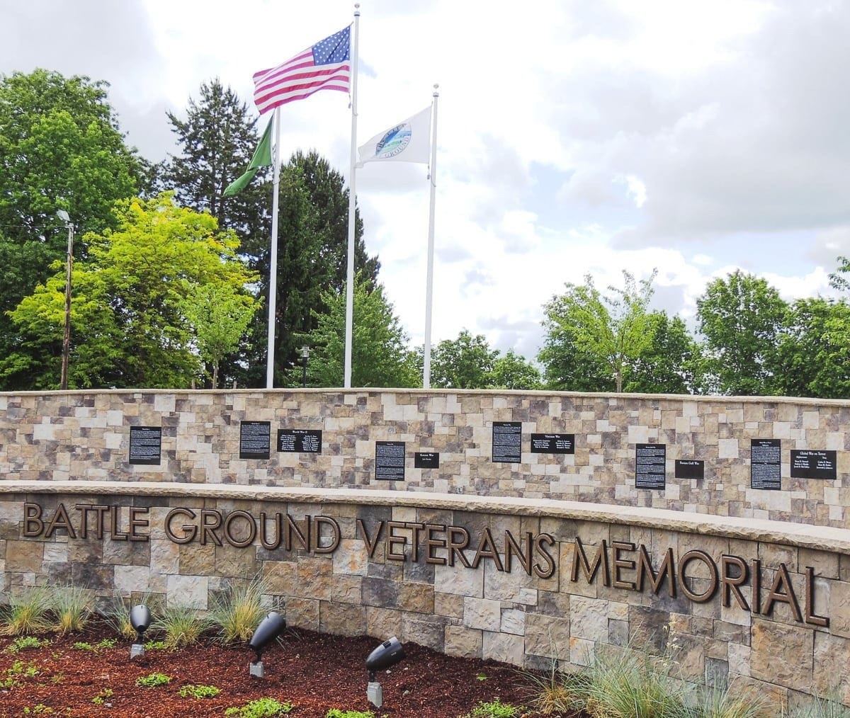 In memory of the 31 Battle Ground natives who died in the line of duty and whose names are engraved in the memorial, residents are invited to attend a reading of the names of these fallen soldiers Mon., May 28 at 11 a.m. in Kiwanis Park. Photo courtesy of the City of Battle Ground