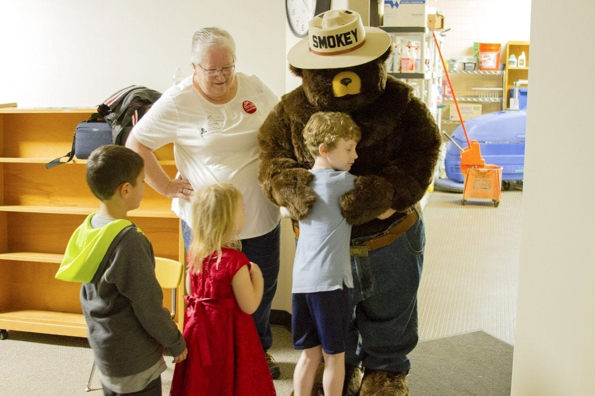 Smokey the Bear helped teach Woodland Primary School students fire safety and how to prevent forest fires. Photo courtesy of Woodland Public Schools