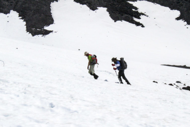 Climbers make their way to the summit of Mount St. Helens Tuesday. Photo by Eric Schwartz