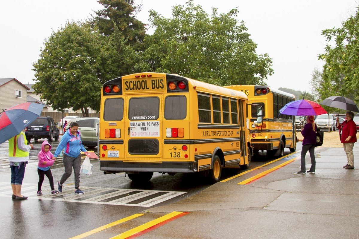 The KWRL Transportation Cooperative serves Kalama, Woodland, Ridgefield and La Center School Districts, driving 5,500 miles each day and more than one million miles a year. Photo courtesy of Woodland School District