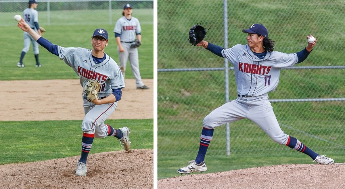 Sam Lauderdale and Damon Casetta-Stubbs, shown here pitching earlier in the week for King's Way Christian, should be back on the mound next week at the district tournament. On Friday, both players helped on offense, getting key hits as King's Way won a share of the Trico League title after beating La Center. Photos by Mike Schultz