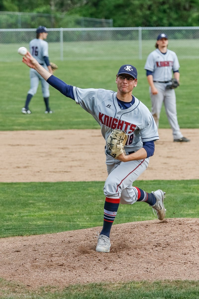 King's Way Christian pitcher Damon Casetta-Stubbs, shown here earlier this season, threw a shutout Friday in the Class 1A state baseball semifinals. The Knights will play for their second consecutive state title Saturday. Photo by Mike Schultz